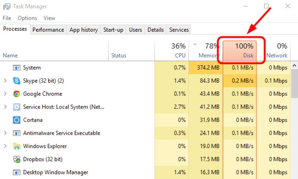 Windows 10 100% disk usage in Task Manager [SOLVED]
