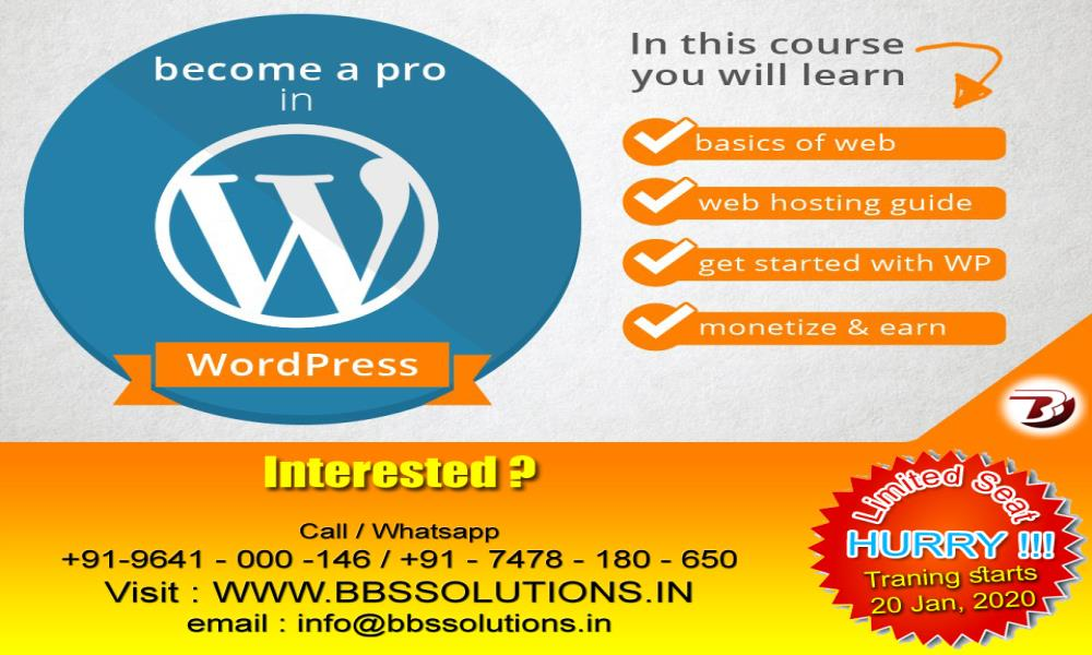 Become a Pro in Wordpress : : Professional and Industrial WordPress training