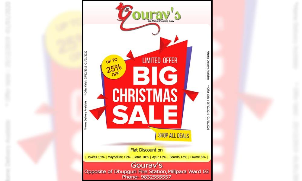 Gourav's offer BIG CHRISTMAS SALE : : FLAT UPTO 25% DISCOUNT on purchases.Lets see the offers...